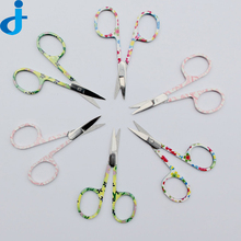 Sharp Head Small Eyebrow Scissors Cut Cosmetic Brow Scissor Print Colorful Manicure Scissors Nose Hair Cutting Makeup Accessory