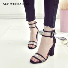 Big Size Women's Shoes, New Style Heel Buttons, Sexy High-heeled Sandals