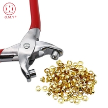 цена на OMY Card Leather Belt Hole Punch Eyelet Pliers Tool Kit Punches Tool With 100pcs Brass Gold Eyelets Grommets