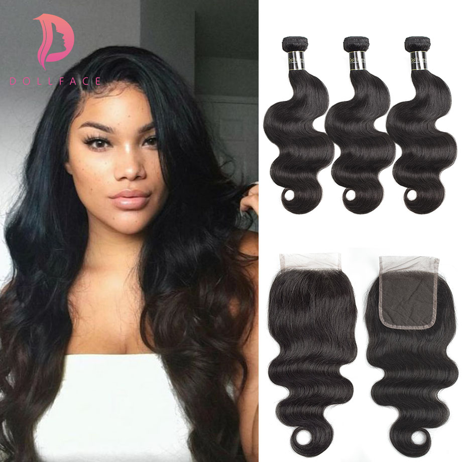 Dollface Cambodian Body Wave Hair With Lace Closure Virgin Hair Extensions 3 Human Hair Bundles With Closure Deal Free Shipping