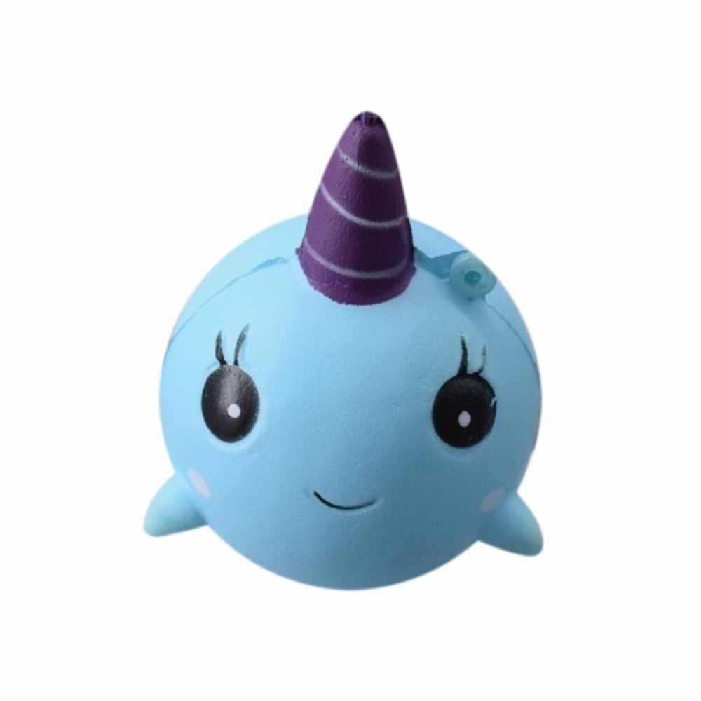 Джамбо поддельные милый синий кит милые украшения сжимаются осыпать Fusion Kawai медленно поднимающийся еда свадебные фото-игрушка телефон ремни