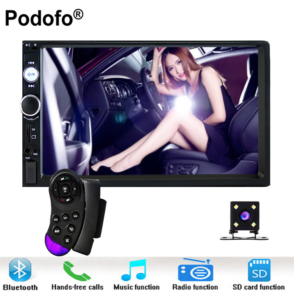 Podofo Autoradio 2 Din In Dash Car Radio 7 Touch Screen Car Digital Player MP5 Bluetooth USB SD Multimedia Rear View Camera