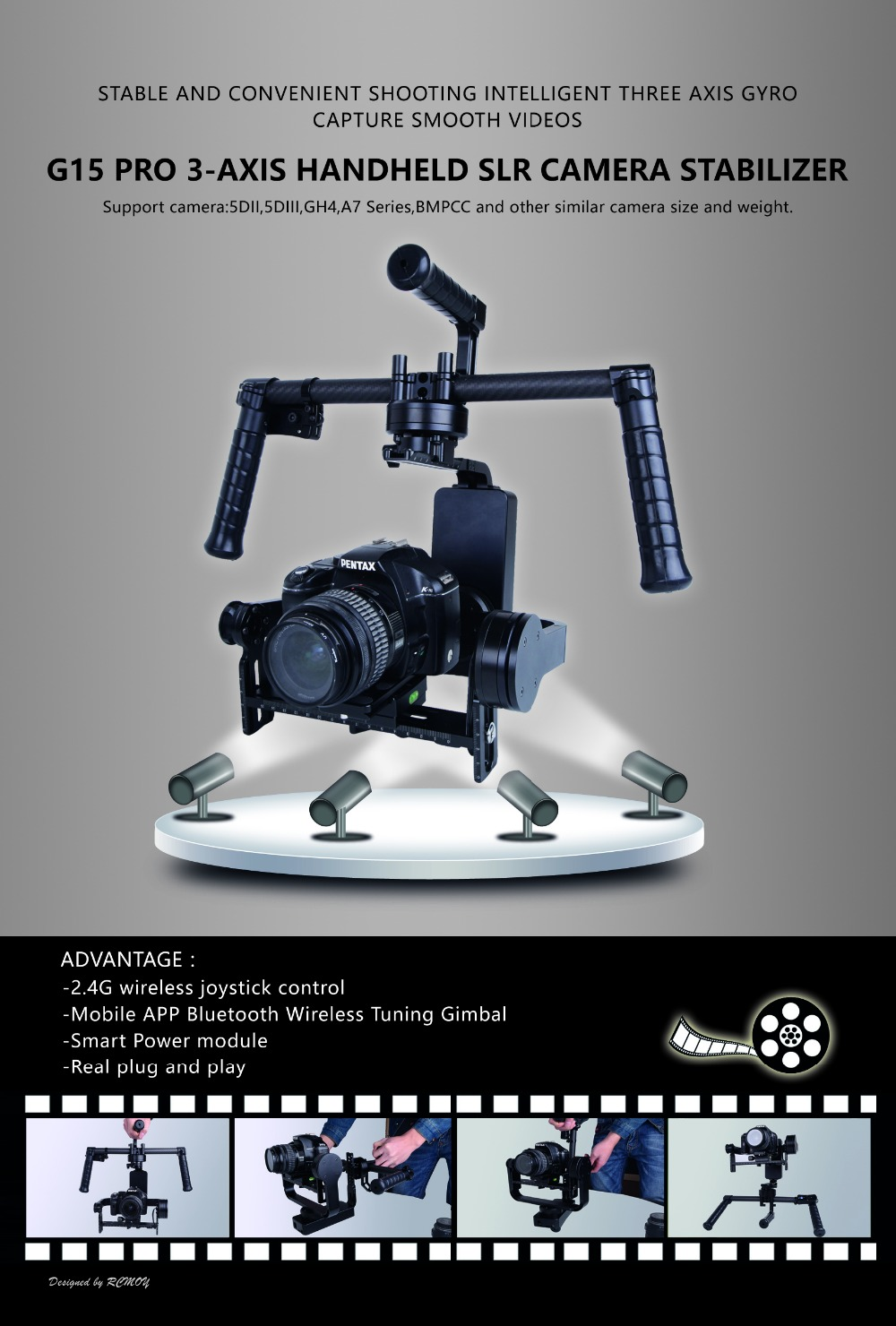 Updated version Handheld 3-Axis Brushless Gimbal Stabilizer Gyroscope for DSLR Camera 5D3/ GH4/ A7S/ BMPCC ready to use цена