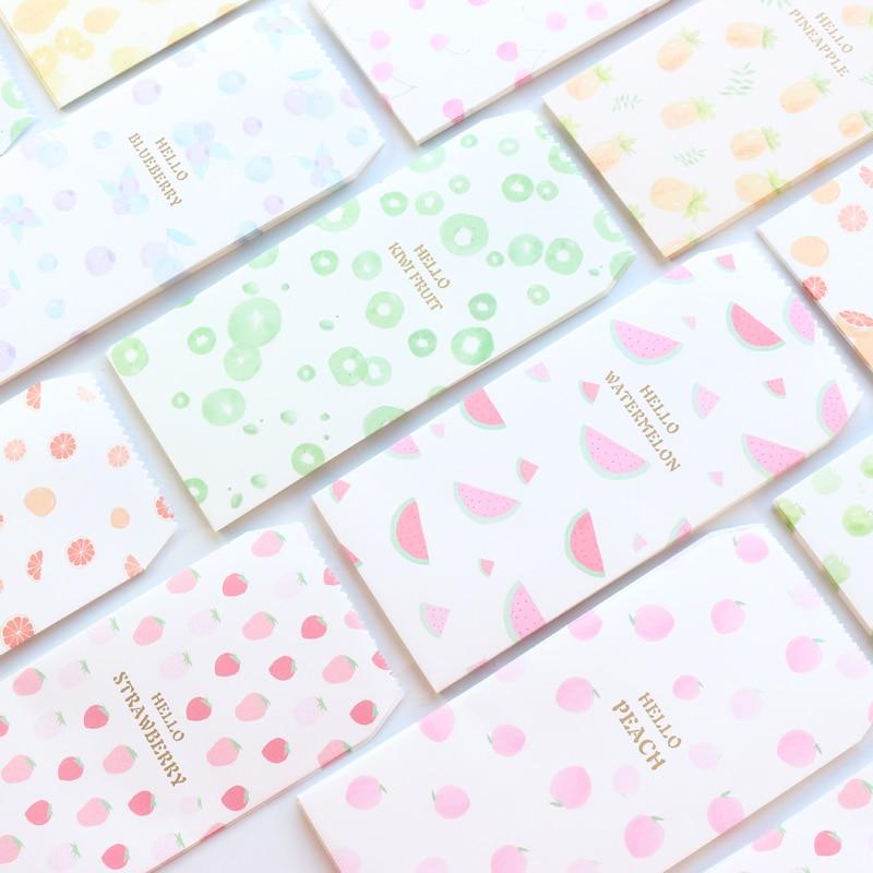 Domikee Cute Kawaii Mini Fruit Pattern School Gift Paper Envelopes Stationery,candy Girls'invitations Kraft Gift Envelopes ,5pcs