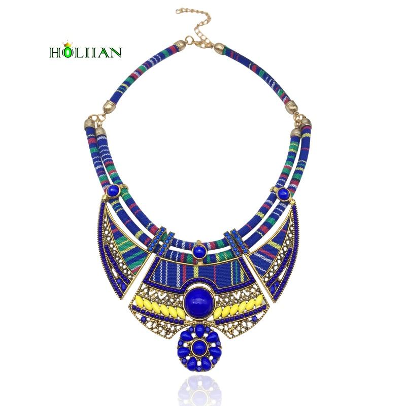 Women vintage choker pendants necklaces big boho necklaces ethnic bohemian jewelry statement tribal marine blue bijoux