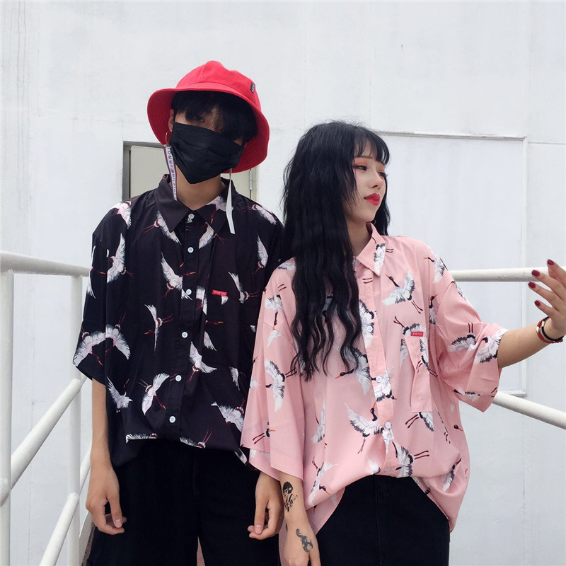 women Summer new Harajuku BF wind Retro Birds printing loose lapel short sleeve shirt male and female couple