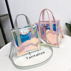 Transparent Handbag Shoulder-Bag Laser-Messenger-Bags Jelly-Rainbow-Hologram Holographic