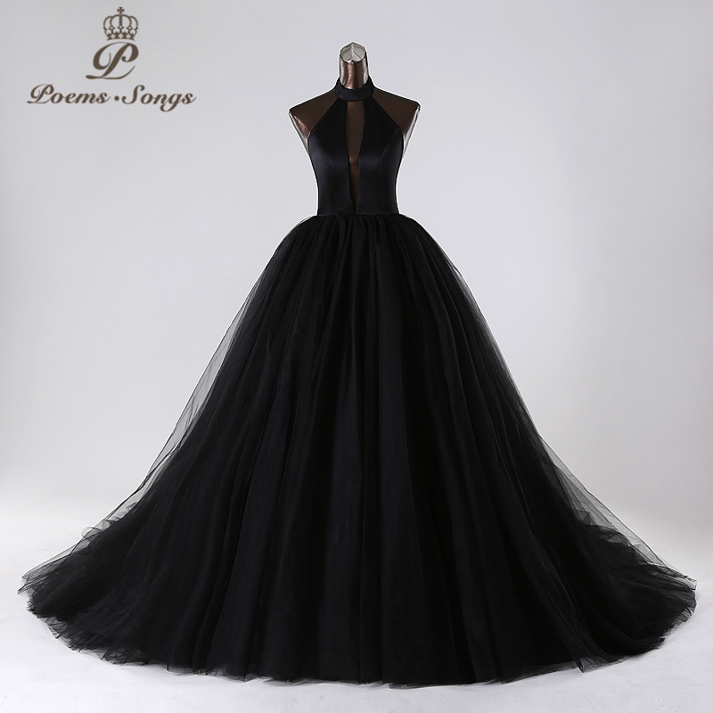 PoemsSongs 2019New style custom made Very sexy backless wedding dress white black red vestido de noiva brides dress ball gown