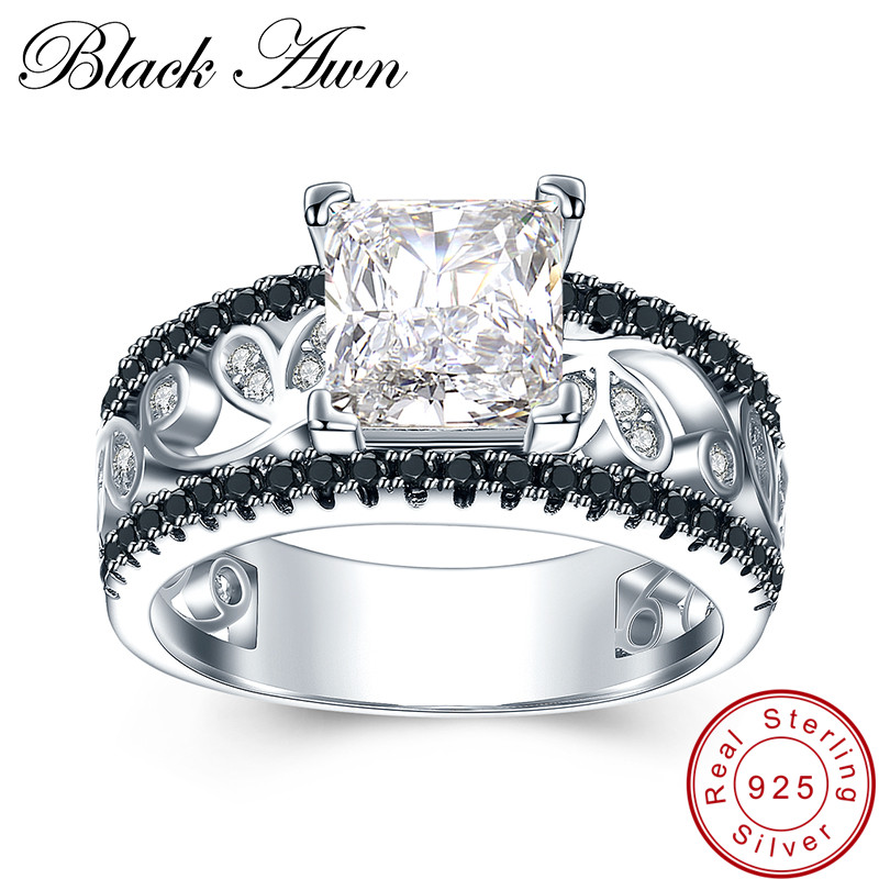 [BLACK AWN] Real 925 Sterling Silver Female Engagement Ring Trendy Wedding Rings for Women Sterling Silver Jewelry C020 [black awn] 925 sterling silver fine jewelry set trendy engagement wedding necklace earring for women pt161