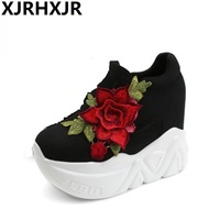 XJRHXJR 2019 Spring Autumn Casual Thick Bottom Platform Shoes Woman Red Rose Height Increase Wedge High Heels Women Pumps