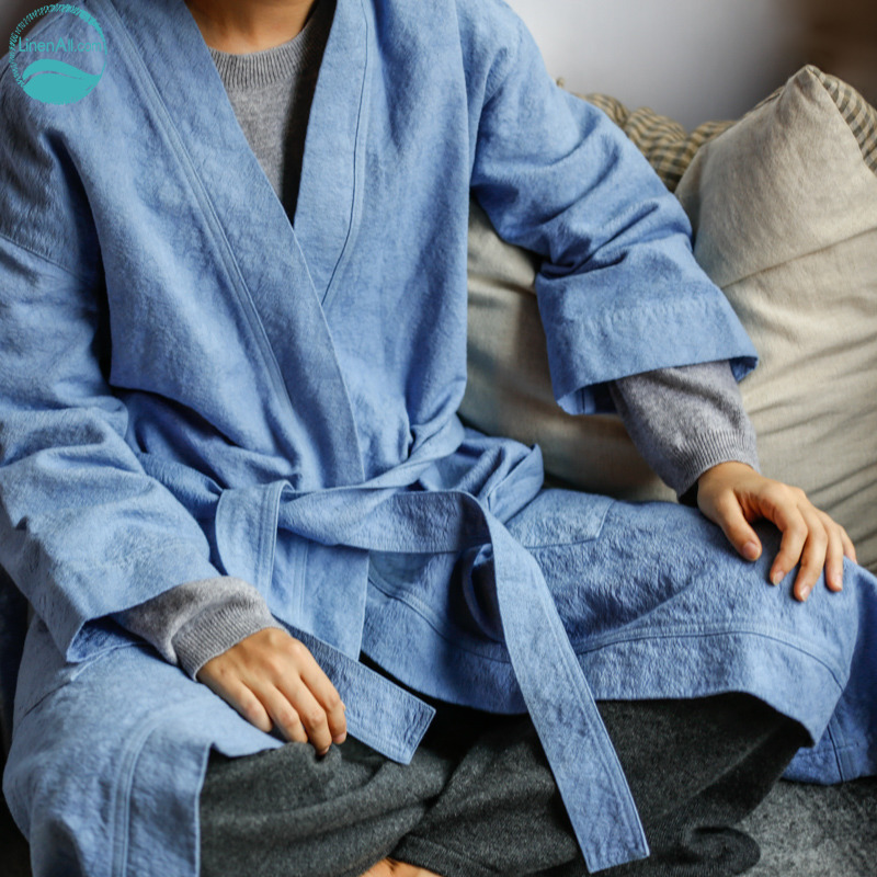 LinenAll womens sleep robe,blue color 100% jacquard cotton lounge ladys night gown outerwear wuyou