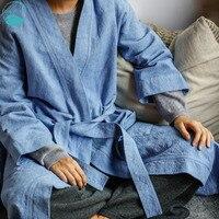 Linenall женская одежда сна, синий цвет 100% хлопок жаккард Lounge женская ночная рубашка верхняя одежда wuyou