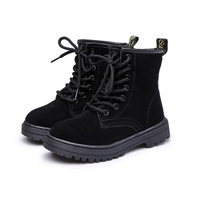 2017 Kids Shoes Casual Martin Boots For Girls Boys Ankle Lace Up Zip Genuine Leather Girls