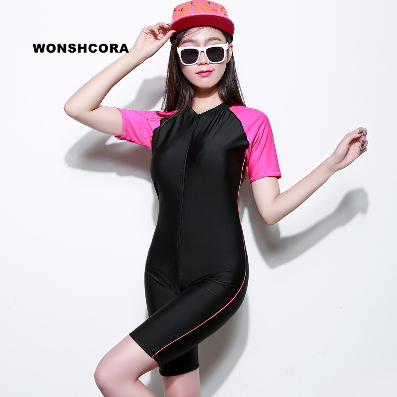 WONSHCORA Surf Wetsuit Korea Costumes for Women Short Sleeves Underwater Hunting Scuba Diving Equipment Sunscreen Swimwear Suit