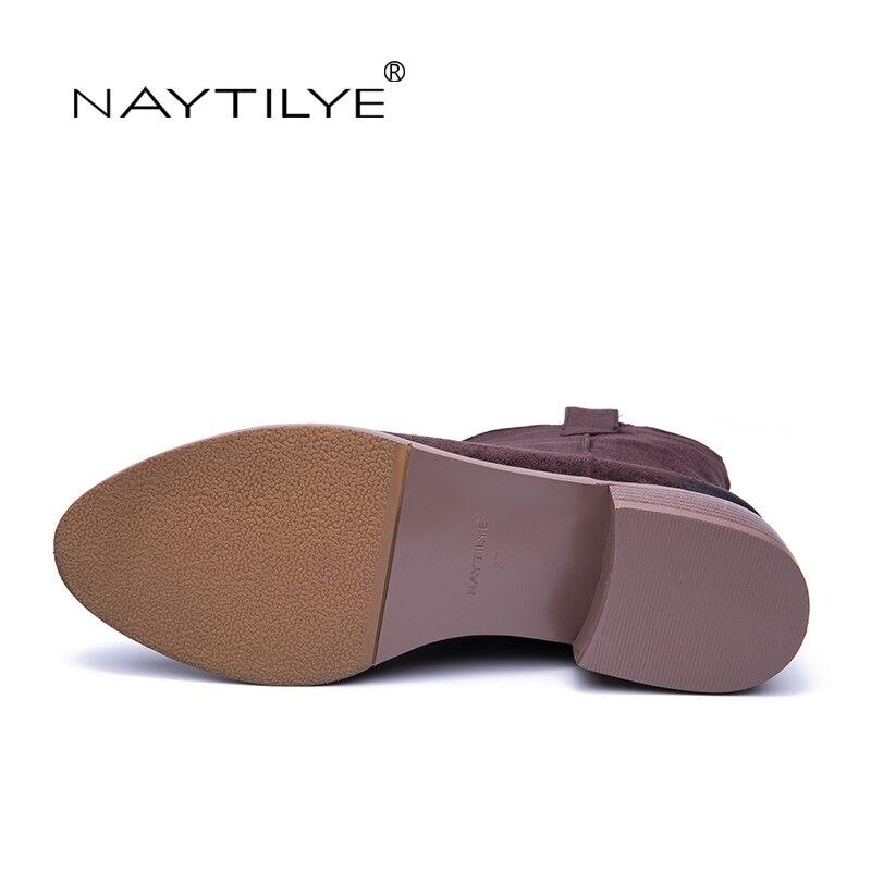brown Gratuite Éco Cuir Nouveau Livraison Moyen Black Chaussures Bout Talons Automne Naytilyt Pu Rond Femme 2019 Bottines En Printemps wIUxcg0aq