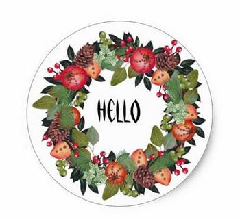 1.5inch Christmas Wreath Sticker2 фото