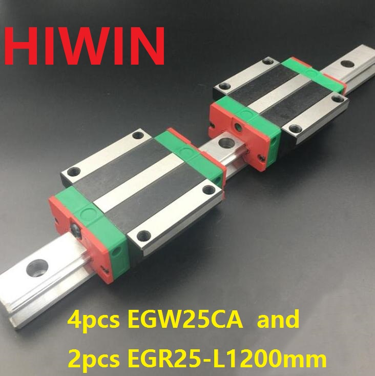 2pcs 100% original HIWIN linear guide EGR25 -L 1200mm + 4pcs EGW25CA linear flange block for CNC router