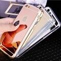 Moda de lujo ultra delgado soft case para iphone 5s borde de silicona transparente + brillante espejo contraportada para iphone 5 5s se cajas del teléfono