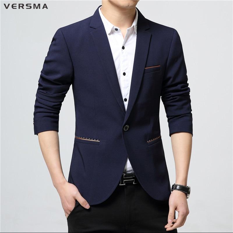 VERSMA British Business Fitted Blazer Men Designer Stylish Mens Suits Blazers Elegant Stage ...