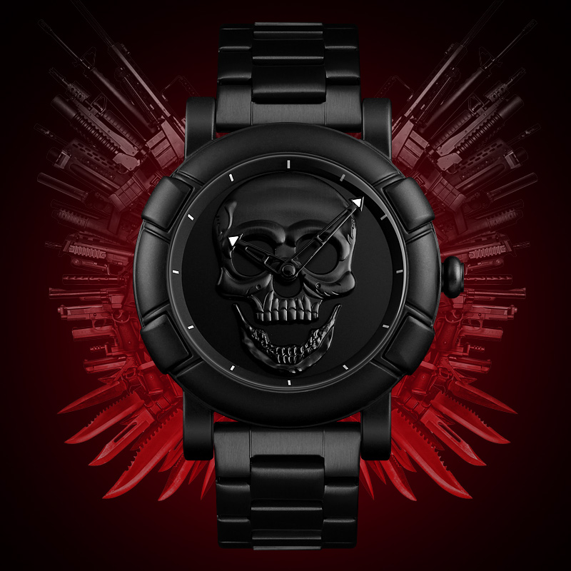 SKMEI Skeleton Skull Men Watch Luxury Brand Quartz Watch Men Waterproof Stainless Steel Male Sports Watches Relogio Masculino