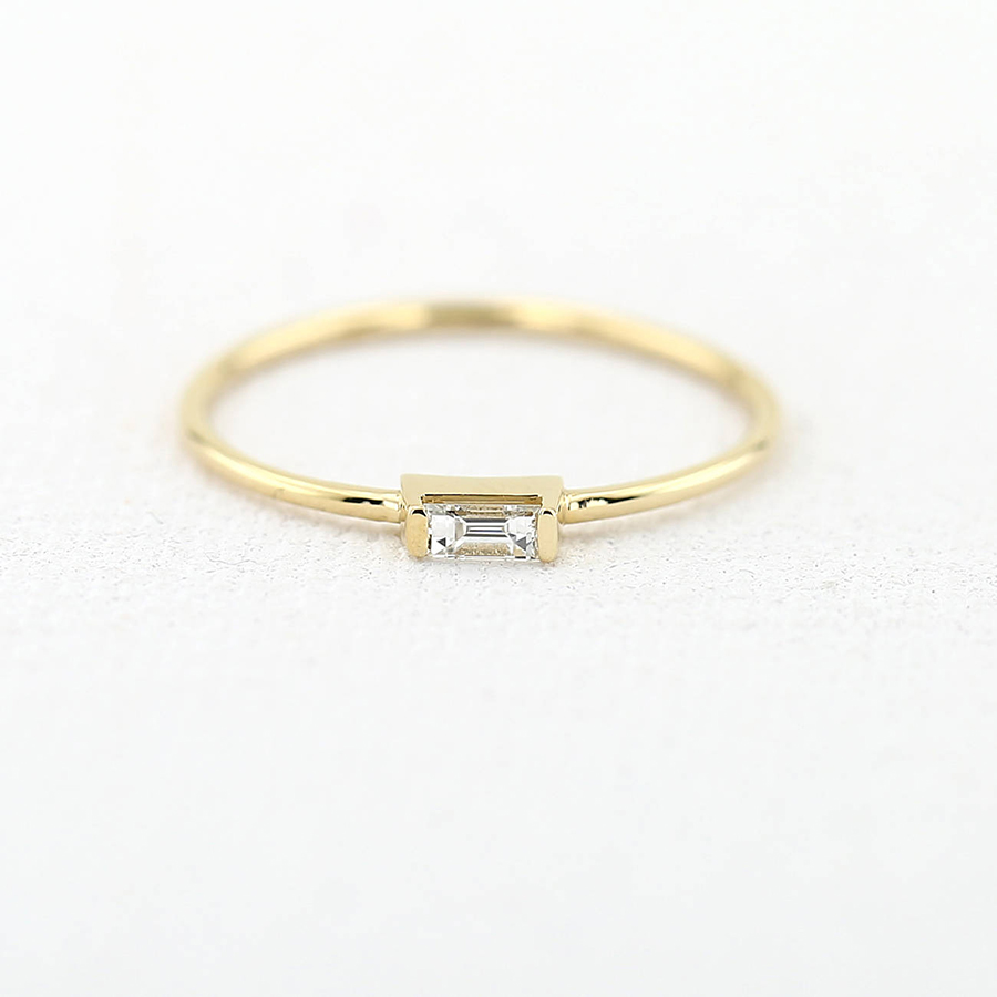 14K Yellow Gold Emerald Moissanite Engagement Ring Band lab Diamond Solitaire Wedding for Women