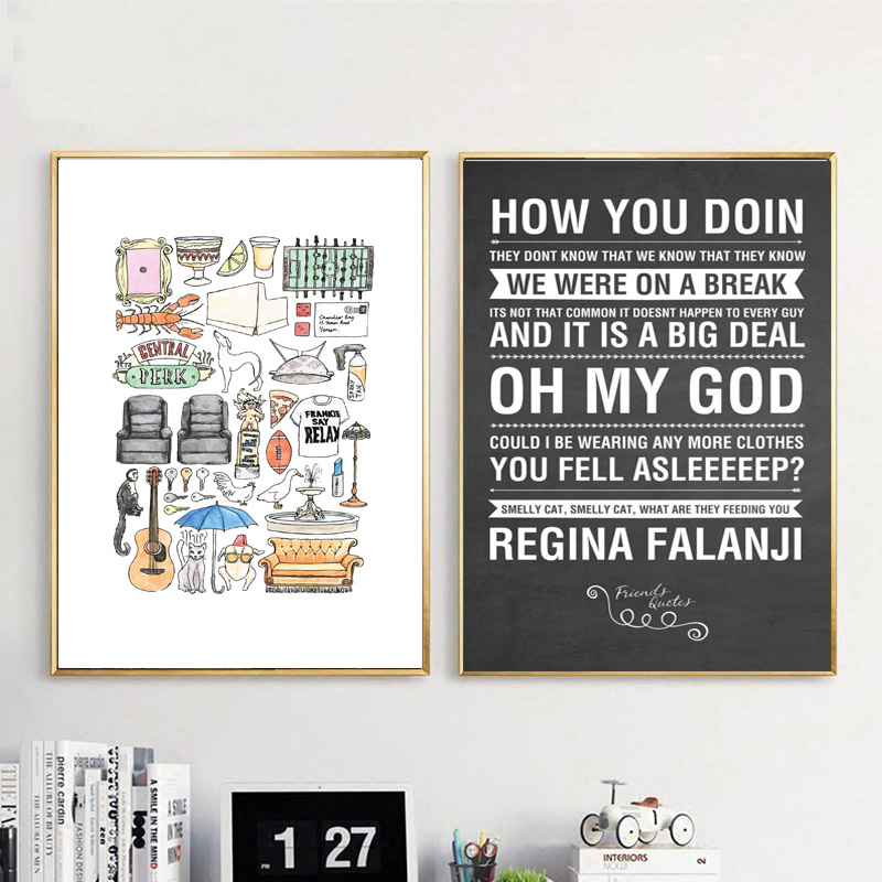 Image 2 - Friends TV Show Quotes HD Wallpaper Minimalist Wall Art Canvas Posters Prints Painting Wall Pictures Bedroom Home Decor Artwork-in Painting & Calligraphy from Home & Garden