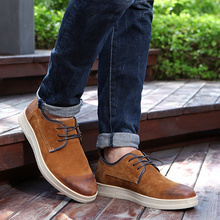 Spring Autumn Fashion Low Top Men Casual Shoes High Quality Thick Full Cow Leather Upper No-Slip Rubber Sole Pigskin Inside