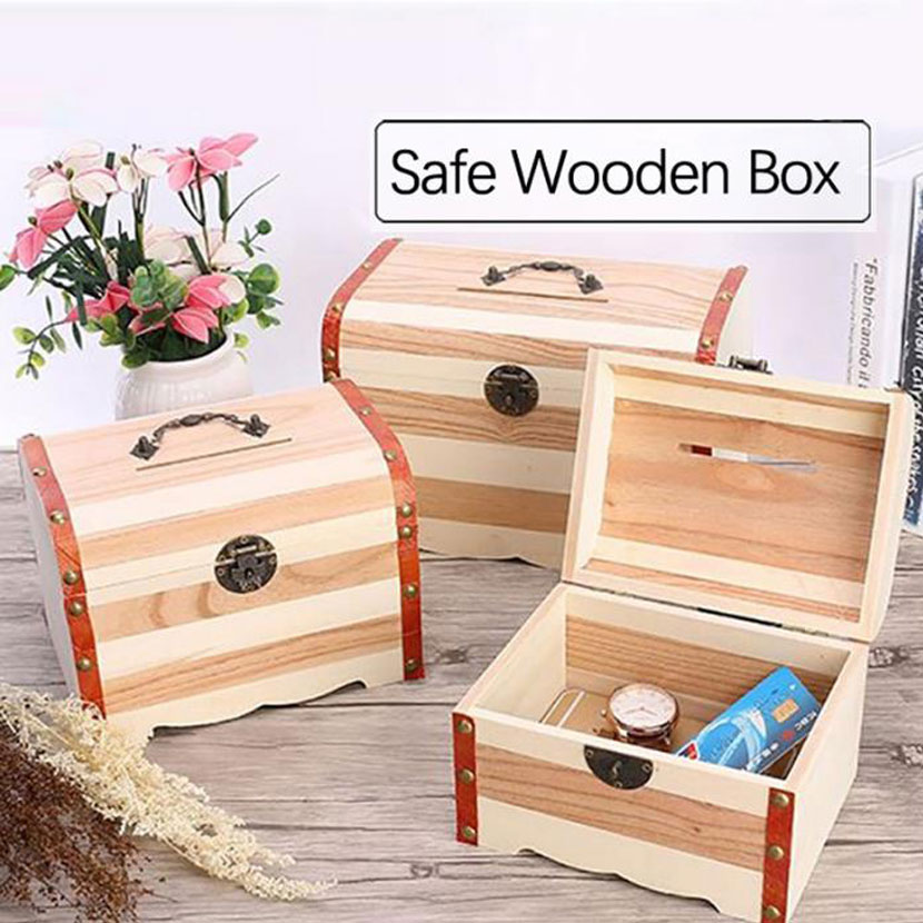 Hot Selling Wooden Treasure Chest With Lock Piggy Bank Coin Safe Box Large Wooden Secret Box Variety Of Optional 250*154*180MM