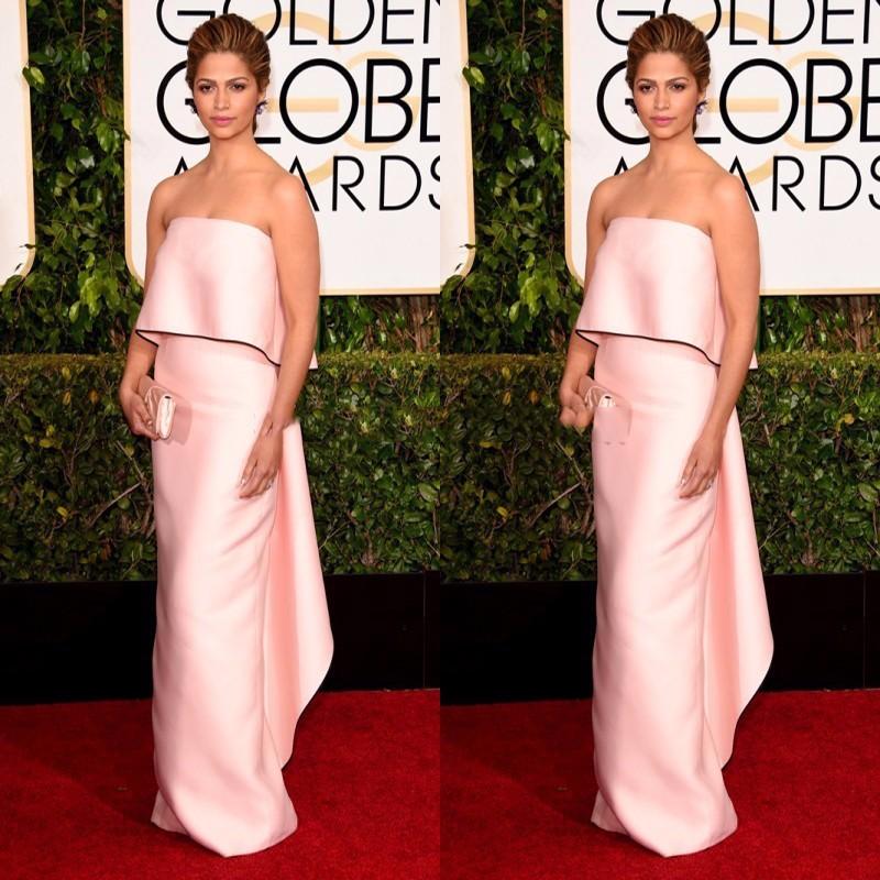 Camila-Alves-Celebrity-Dresses-72-Golden-Globe-Awards-Red-Carpet-Dresses-Strapless-Column-Light-Pink-Evening