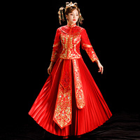Noble Women Hanfu 2PCS Marriage Suit Traditional High Quality Tassel Pleated Dress Luxurious Embroidery Cheongsam Wedding Qipao