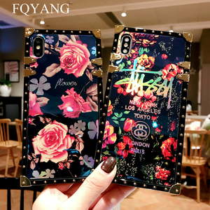 Image 2 - FQYANG Luxury Square Blu Ray Rose Phone Case For SAMSUNG S10 PLUS S8 S9 S10LITE Flower Cases For SAMSUNG NOTE 9 8 With Lanyard