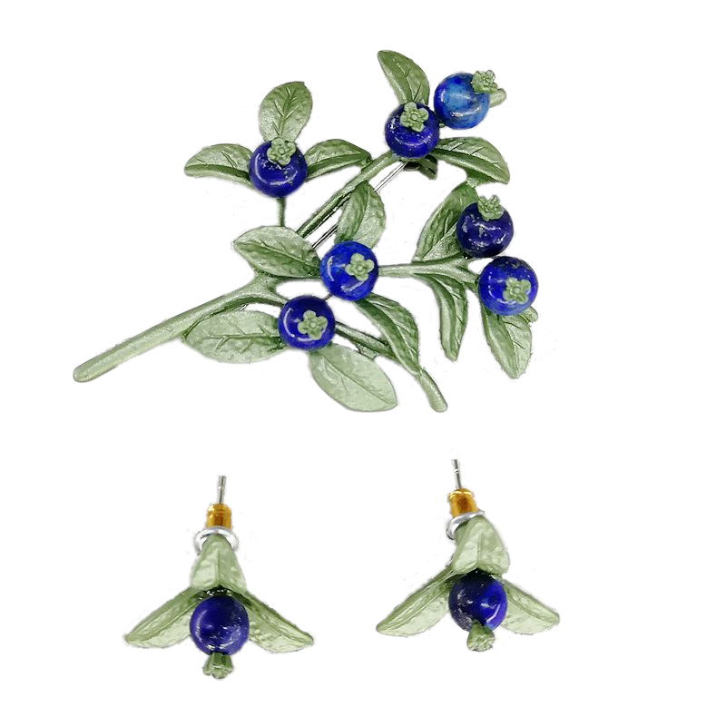 Brooch Earring Flower Blueberry Green Lazuli Leaf Yhj Lapis S925-Needle Lacquer Synthetic