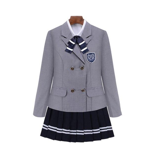 Детская школьная форма с длинным рукавом в британском стиле, 4 шт./компл./комплект
