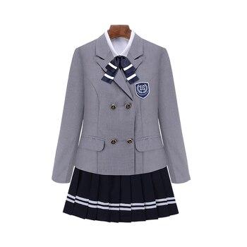С длинным рукавом британский школьная Униформа высокое школьников школьная Униформа s для девочек