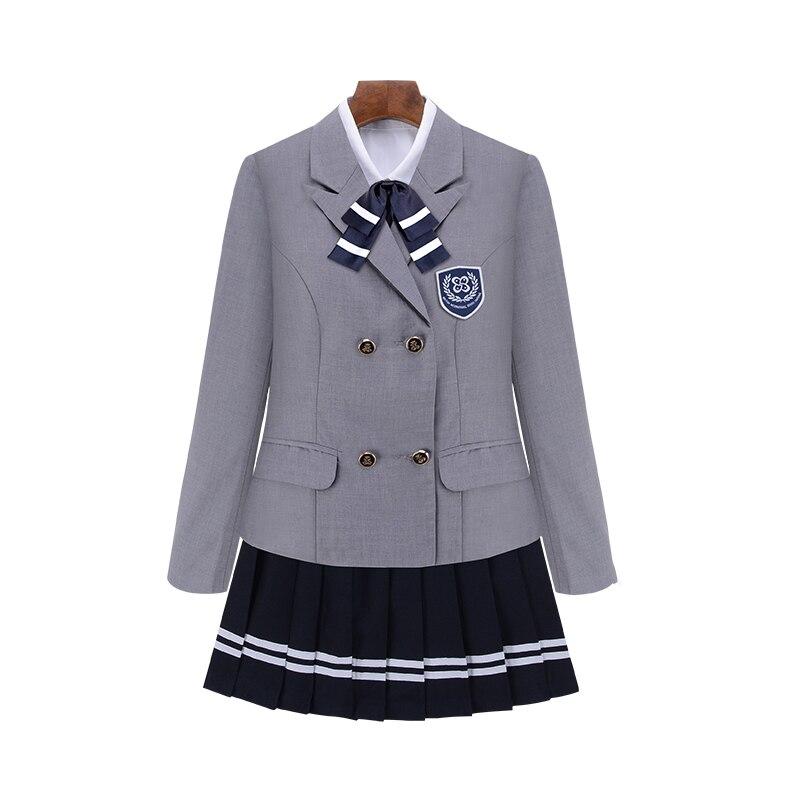 UPHYD à manches longues uniforme scolaire britannique haute école élèves uniformes scolaires pour les filles 4 pièces/ensemble