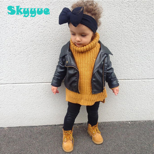 cad7e27d75ad Kids leather jacket 2018 fall fashion baby girl PU leather black jacket  Zippered Thin Black Coats toddler girls leather jacket