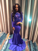 Sexy African Open Back Royal Blue Mermaid Prom Dresses 2017 Satin Sheer Appliques Lace Long Sleeve