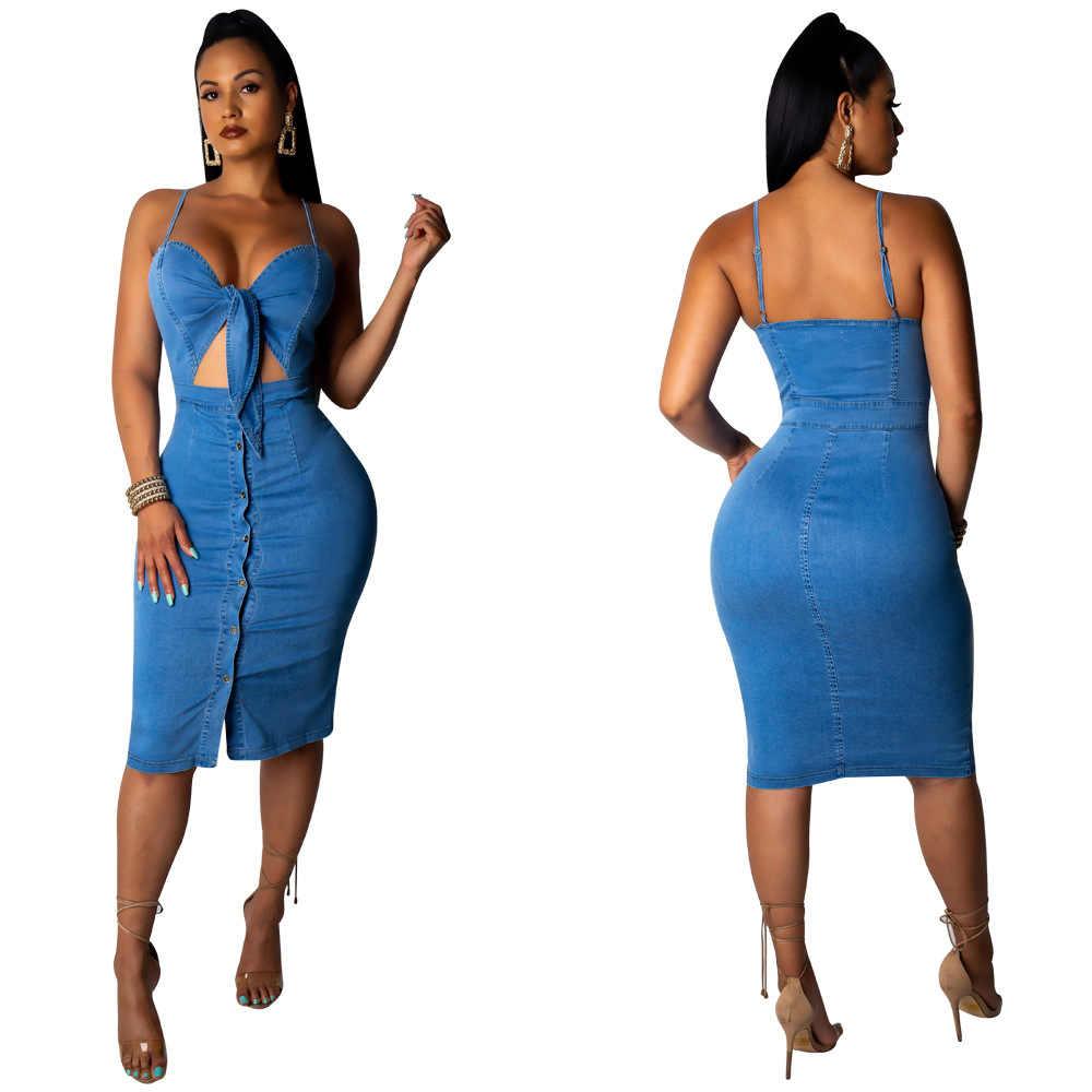2019 nouvelles femmes d'été spaghetti sangle cravate col en v coupe sexy jeans genou longueur moulante robe mi-longue denim robes décontractées M905