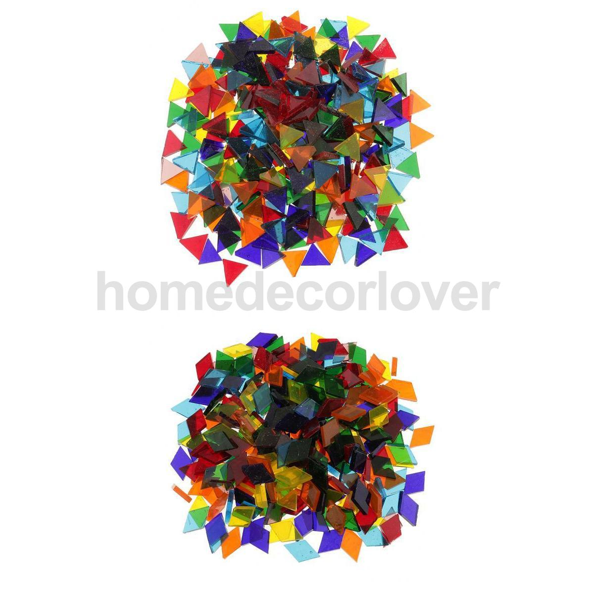 Craft mosaic tiles cheap - 500pcs Assorted Color Clear Triangle Rhombus Glass Mosaic Tiles Pieces For Diy Craft