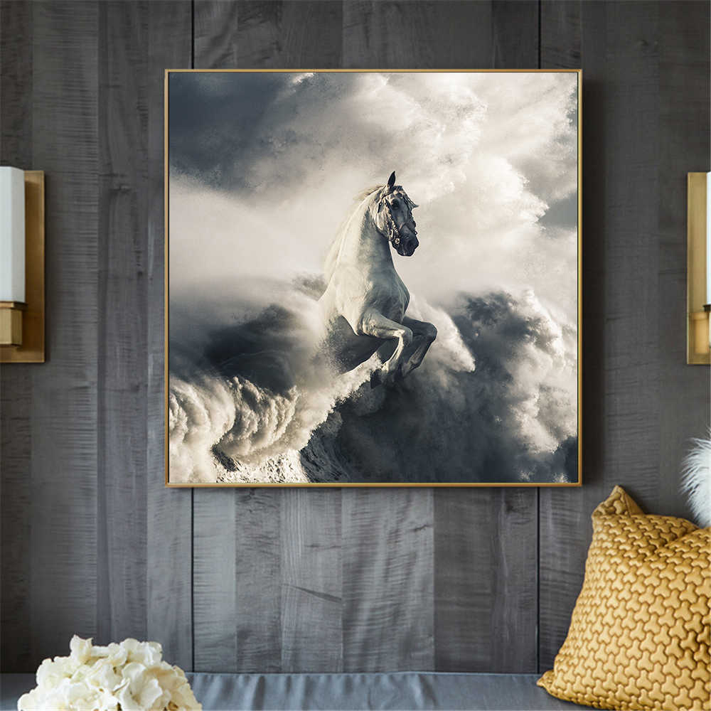 Black Horse Abstract Painting Pegasus White Horse Wall Pictures for Living Room Home Decoration Canvas Art Paint Cuadros Decor