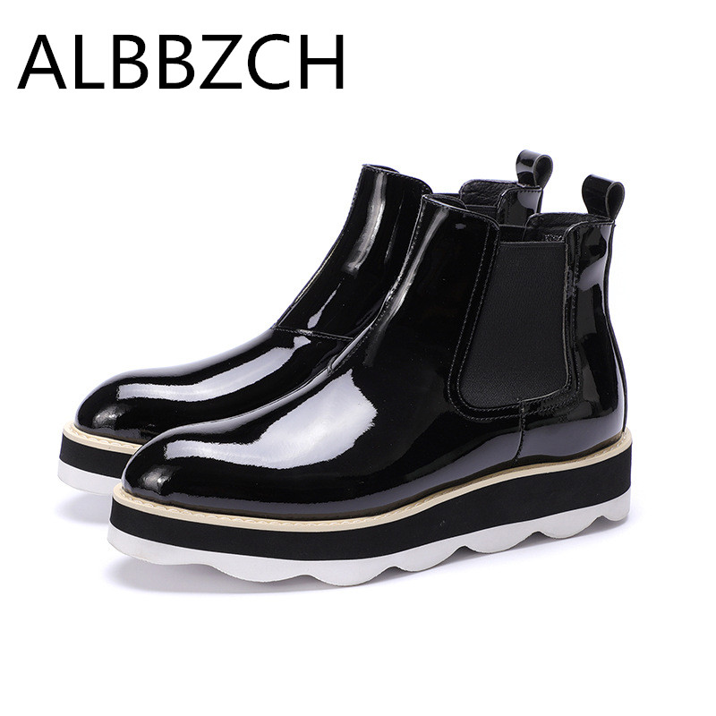 New Fashion Platform Patent Leather Men Boots Autumn Winter High Top Chelsea Ankle Boots Shoes Mens Height Increase Short BootsNew Fashion Platform Patent Leather Men Boots Autumn Winter High Top Chelsea Ankle Boots Shoes Mens Height Increase Short Boots