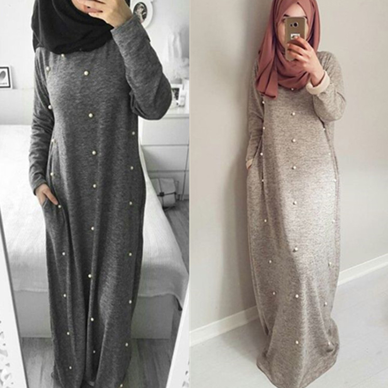Arab Vestidos 2019 UAE Abaya Dubai Kaftan Turkey Cotton Beading Maxi Muslim Hijab Dress Women Islamic Clothing Tesettur Elbise