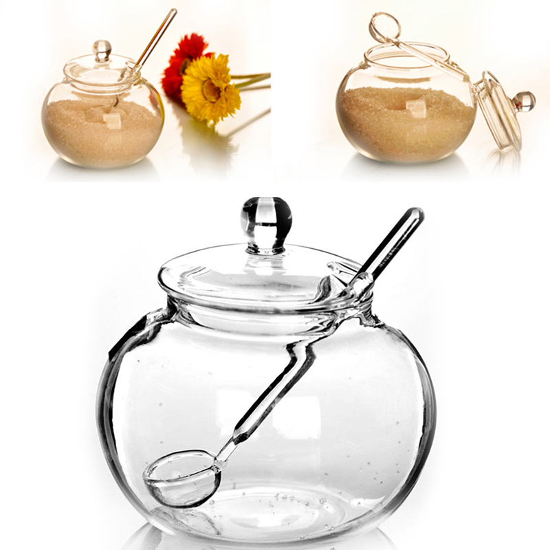 SOLEDI Household Transparent 250ml Glass Jar Candy Sugar Bowl Saleros De Cocina 2018 Hot Sale Drop shipping