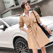 FTLZZ Windbreaker Coats Women Casual Spring Autumn Long Sleeve With Belt Trench