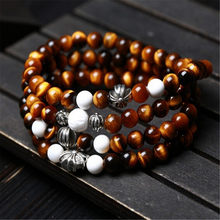 New Design AAA Natural Crystal Yellow Tiger Eye Stone 108 Beads Mala Tibetan Silver Charm Fashion Men and Women Strand Bracelet(China)
