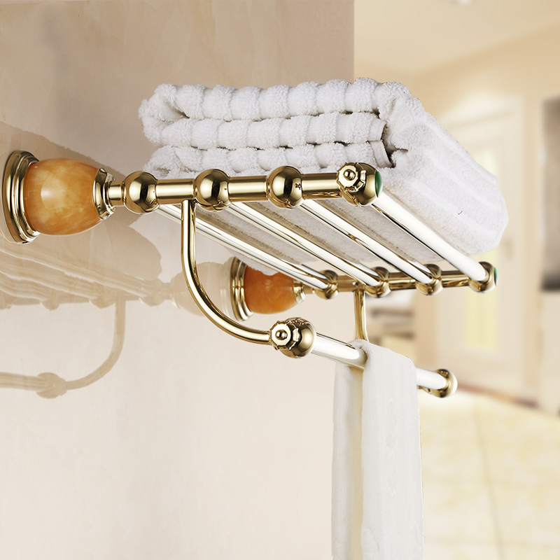 Towel Racks European Style Wall Mount Brass Luxury Gold Plated Jade Bathroom Towel Holder/Bars Bathroom Accessories 3812K reset toner chip for lexmark t650 t652 t654 printer laser use for lexmark toner t650a11p chip for lexmark 650 chip rewrite chip