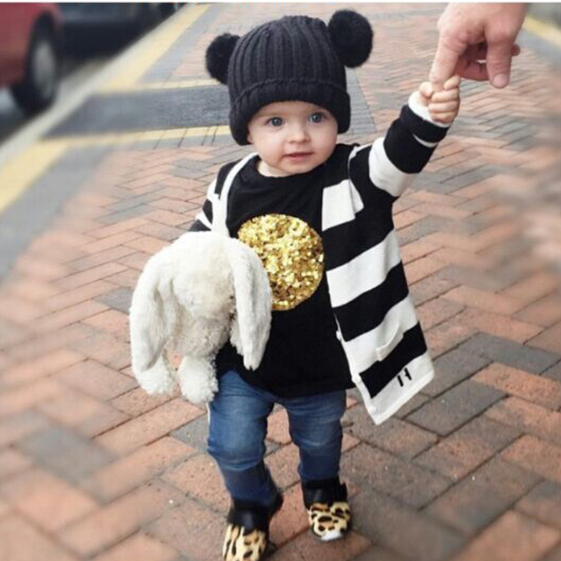 Baby Kint HatNew Unisex Baby Boy Girl Children Dual Ball Knit Sweater Cap Winter Hats Kintted Crochet Beanie Caps Thermal kids