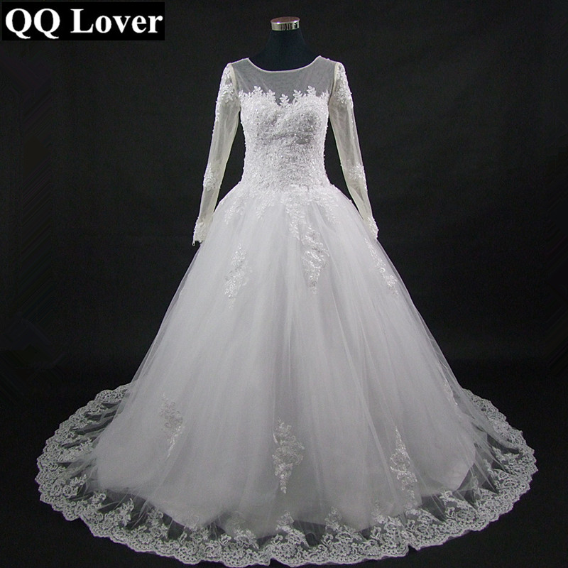 Image 2 - QQ Lover 2019 The Latest Skin Color Illusion Long Sleeves Lace Vestido De Noiva Bride Gown Custom made Plus Size Wedding Dresses-in Wedding Dresses from Weddings & Events