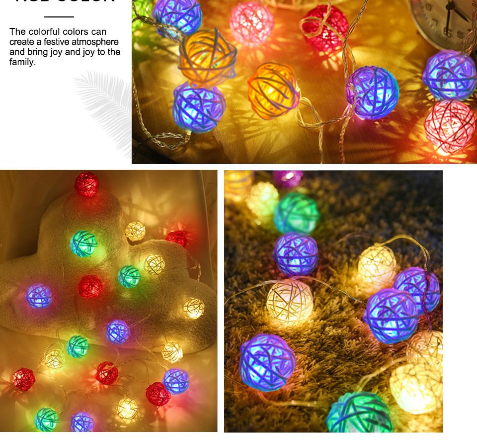 Rattan Balls LED String Lights Battery Garland Cotton Ball Light Chain Guirlande Lumineuse Holiday Christmas Lights Balls (13)