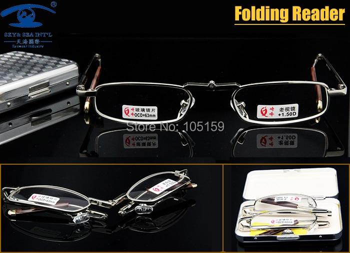 Novo Mini Folding Óculos de Leitura Homens de Bolso Óculos De Leitura Lente  de Vidro com Caso Óculos de Presbiopia Diopter100, 150,200,250,300 6a8c5c7a45